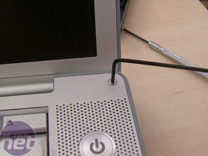 PowerBook disassembly Dented and battered