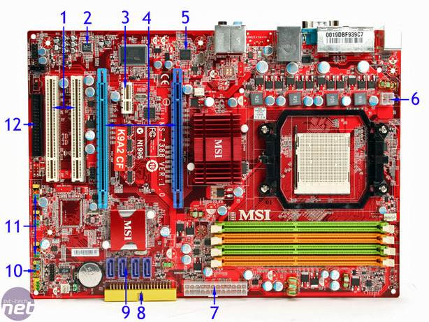 MSI K9A2 CF Board Layout