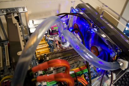 The test system, clean from its third distilled-water flush after a test.