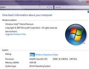 Windows Vista SP1 Gaming Performance Installation and Test Systems