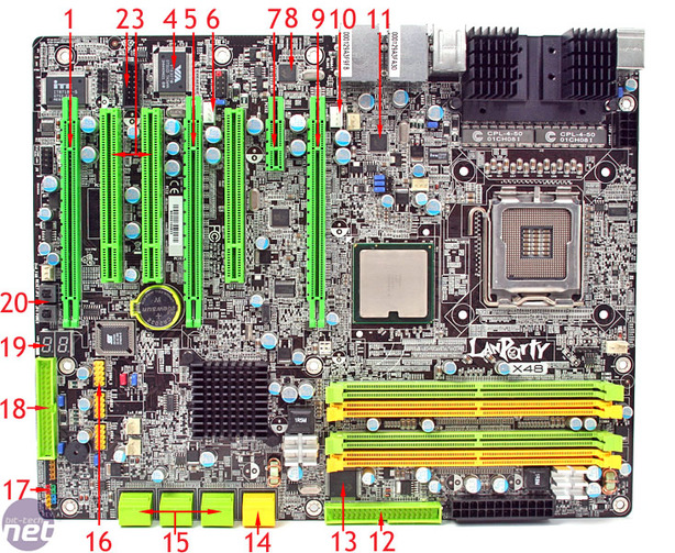 DFI LANParty LT X48-T2R Board Layout