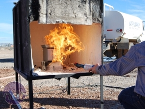 Indestructible Data: ioSafe at CES 2010 Setting up the test, and setting the Solo on fire