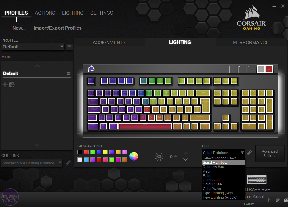 corsair strafe rgb silent how to get different colours