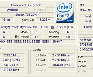 MSI shows E8500 Wolfdale overclocking