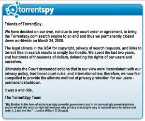 TorrentSpy shuts its doors