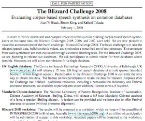 The Blizzard Challenge 2008