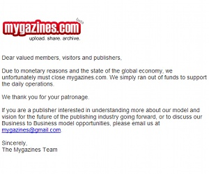 Mygazines.com closes its doors