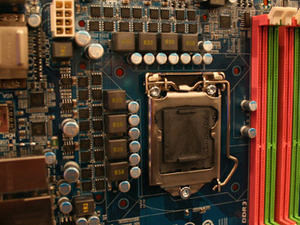 Gigabyte's P55 mobo sports mystery Intel connector Gigabyte's P55 mobo is on display too