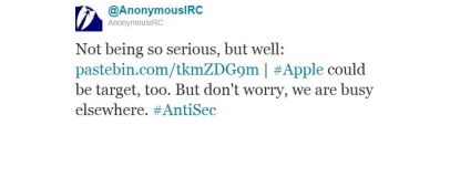 Anonymous hacking group claims Apple attack