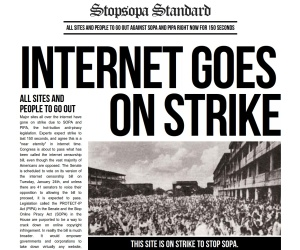Websites go dark in protest at SOPA, PIPA