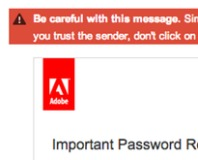 Gmail flags Adobe password reset email as spam