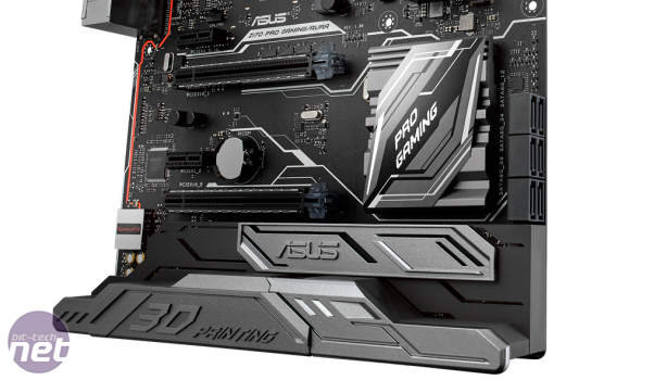 Asus reveals Z170 Pro Gaming Aura motherboard Asus Z170 Pro Gaming Aura motherboard with 3D-printed logo mount
